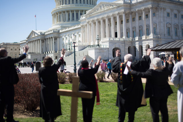 Circle of Protection faith leaders keep a prayer vigil in front of the U.S. Capitol before a crucial healthcare vote.